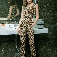 Leopard Printed Round Neck Two Pieces Fancy Suit - Multicolor
