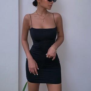 Spaghetti Strap Fitted Mini Dress - Black
