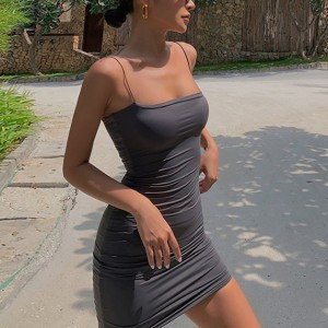 Spaghetti Strap Fitted Mini Dress - Gray