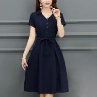 Shirt Collar Button Closure Short Sleeves A-Line Dress - Blue