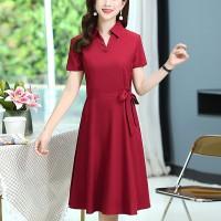 Shirt Collar Button Closure Short Sleeves A-Line Dress - Red