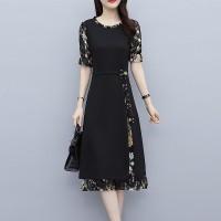 Round Neck Contrast Printed Midi Dress - Black