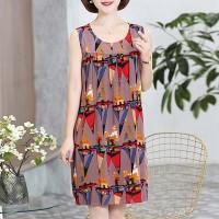 Round Neck Graphic Printed Mini Dress - Multicolor