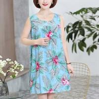 Round Neck Graphic Printed Mini Dress - Light Blue
