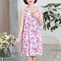 Round Neck Graphic Printed Mini Dress - Light Pink
