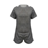 Cold Shoulder Formal Wear Two Pieces Suit - Gray