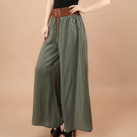 String Lace Closure A-Line Solid Color Formal Skirt - Green