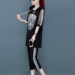 Hoodie Neck Thin Fabric Sleeves Sports Wear Two PIeces Suit - Black