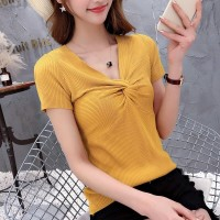 V Neck Short Sleeves Solid Color Top - Yellow