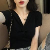 V Neck Short Sleeves Solid Color Top - Black