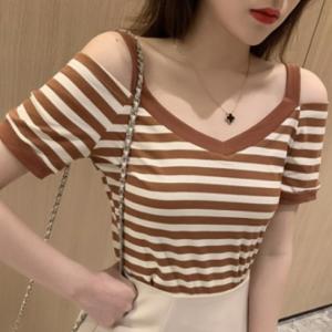 Cold Shoulder Stripes Print Summer Wear Top - Brown