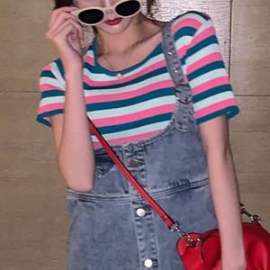 Striped Prints Summer Fashion Women Clothing Top - Pink