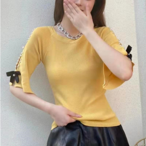 Pearl Patched Bow Style Party Wear Cocktail Blouse Top - Yellow