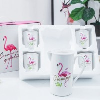 High Quality Five Pieces Flamingo Prints Cups With Jug - White