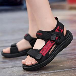 Velcro Closure Flat Sole Unisex Sandals - Red