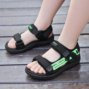 Velcro Closure Flat Sole Unisex Sandals - Green