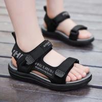 Velcro Closure Flat Sole Unisex Sandals - Gray