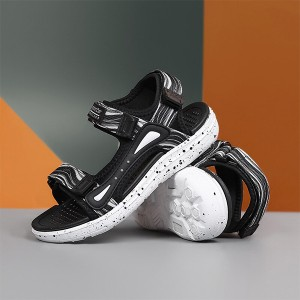 Contrast Velcro Closure Sports Wear Casual Sandals - Black and White