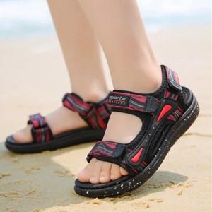 Contrast Velcro Closure Sports Wear Casual Sandals - Red
