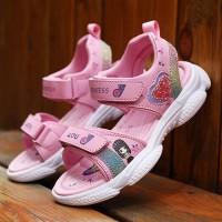 Open Toe Velcro Closure Rubber Sole Sandals - Light Pink