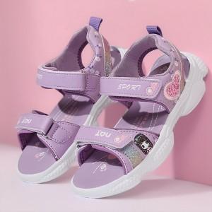 Open Toe Velcro Closure Rubber Sole Sandals - Purple