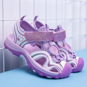 Velcro Closure Kids Wear Rubber Sole Cute Sandals - Purple