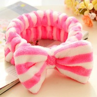 Women Soft Sweet Solid Color Hair band - White Pink