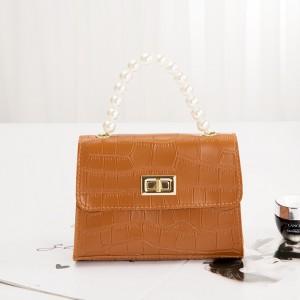 Crocodile Pattern Pearls Strip Women Messenger Bag - Brown