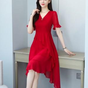 Fashion Chiffon Temperament Irregular Girls Dress - Red
