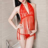 Women See Through Tassel Perspective Sexy Lace Hanging Neck Lingerie Set - Red