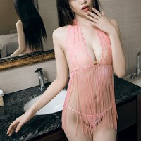 Women See Through Tassel Perspective Sexy Lace Hanging Neck Lingerie Set - Pink