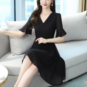 Vintage Slim V Neck Elegant Women Dress - Black