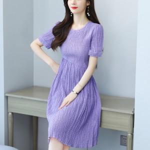 Elegant Fashion Retro Tie Waist Fairy Dress - Purple