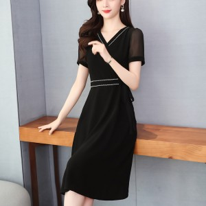 Elegant Slim High Waisted V Neck Casual Office Dress - Black