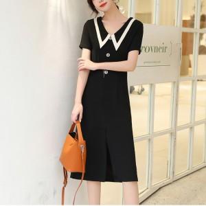 Single Breasted Temperament A Line Girls Dress - Black