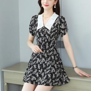 Full Printed Short Sleeve Daisy Flower Casual Dress - Black