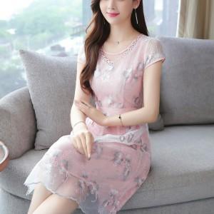 Organza Embroidery Elegant Lace Girls Dress - Pink