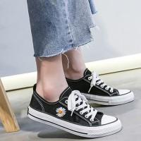 Thread Floral Art Lace Closure Women Fashion Flat Sneakers - Black