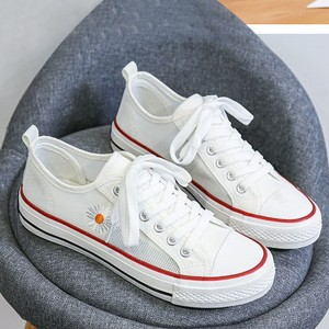 Thread Floral Art Lace Closure Women Fashion Flat Sneakers - White