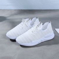 Canvas Breathable Lace Closure Rubber Sole Sneakers - White