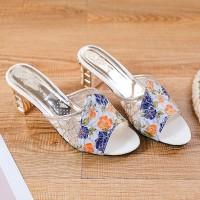 Square Heel Floral Print Party Wear Heels - Blue