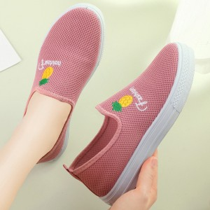 Flat Sole Slip Over Women Fashion Sober Sneakers - Pink
