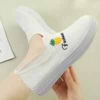 Flat Sole Slip Over Women Fashion Sober Sneakers - White