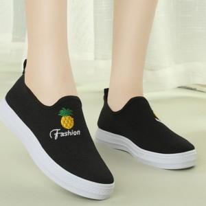 Flat Sole Slip Over Women Fashion Sober Sneakers - Black