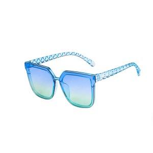 Big Frame Women Fashion Square Sunglasses - Blue Green