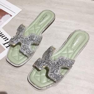 Glittery Flat Style Women Fashion Party Wear Slippers - Green