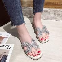 Glittery Flat Style Women Fashion Party Wear Slippers - Silver