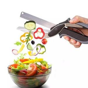 2 in 1 Scissor Steel Knife Cutting Board - Black