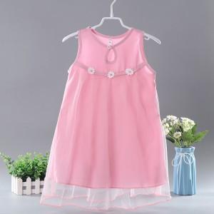 New Cotton Silk Cute Princess Kids Fashion Dress - Pink