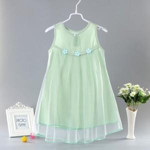 New Cotton Silk Cute Princess Kids Fashion Dress - Green